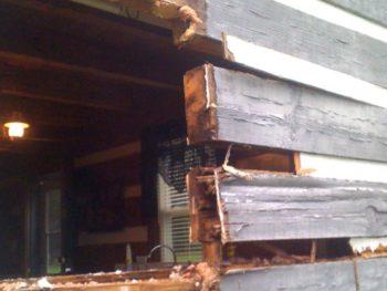photo of log home window repair