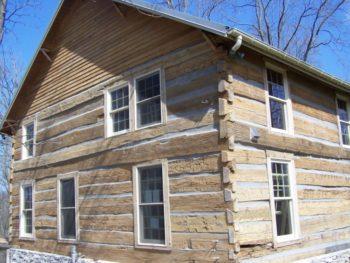 photo of a log house